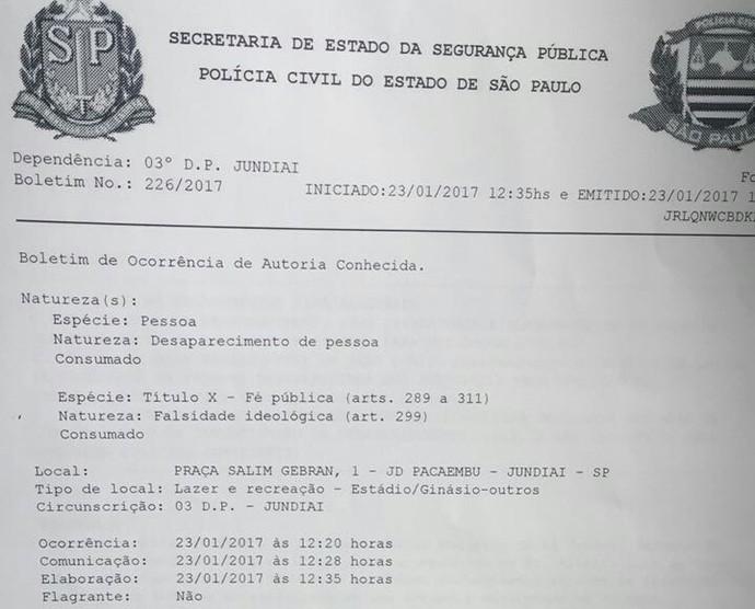 Boletim de ocorrência registrado pelo Paulista e Alberto contra Brendon (Foto: Arquivo Pessoal)