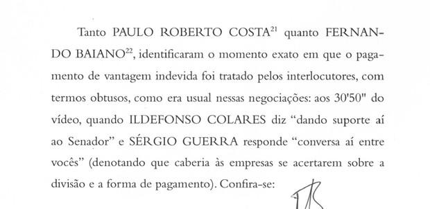 Trecho de denúncia da )Procuradoria Geral da República contra Eduardo da Fonte (Foto: Reprodução)