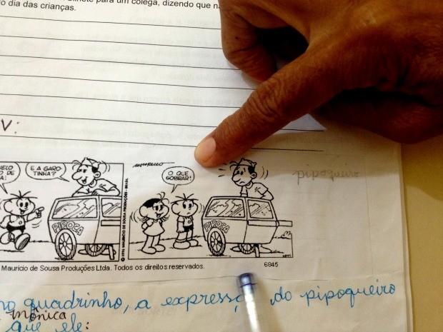 Tirinha da Turma da Mônica vem com palavrão em escola do Acre (Foto: Yuri Marcel/G1)
