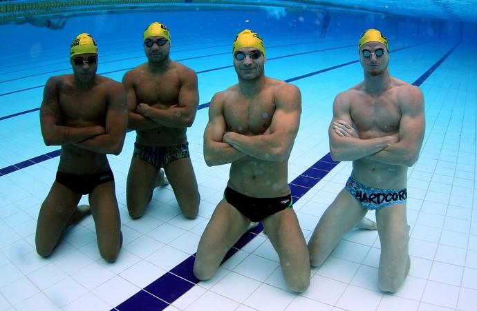 Deasfio Raia Rápida natação Brasil - Matheus Santana, Felipe França, Nicholas Santos e Daniel Orzechowski (Foto: Satiro Sodré / SSPress)