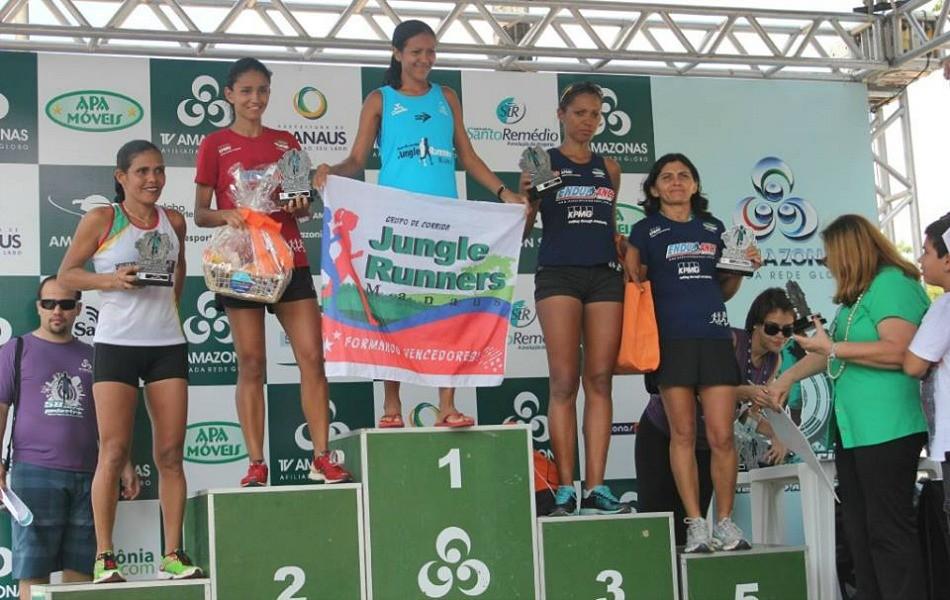 Vencedoras dos 10 km da competição (Foto: Alírio Lucas/ GE AM)