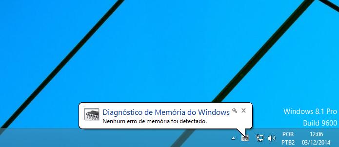Windows informando que não encontrou nenhum erro nos testes (Foto: Reprodução/Edivaldo Brito)