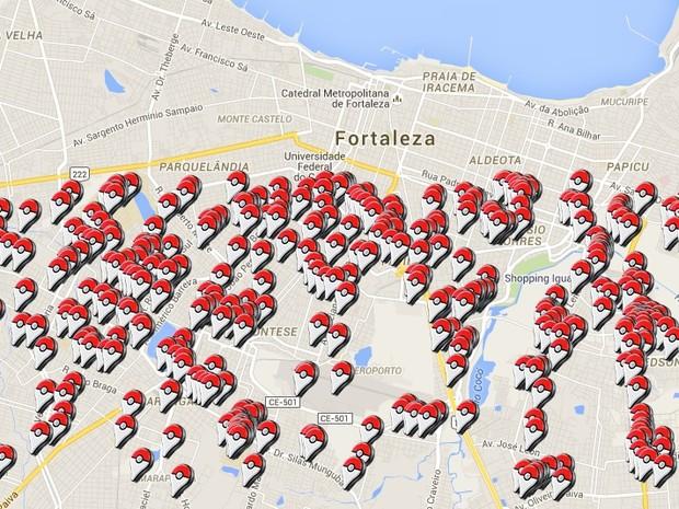PokéStops em Fortaleza (Foto: Reprodução/Google)