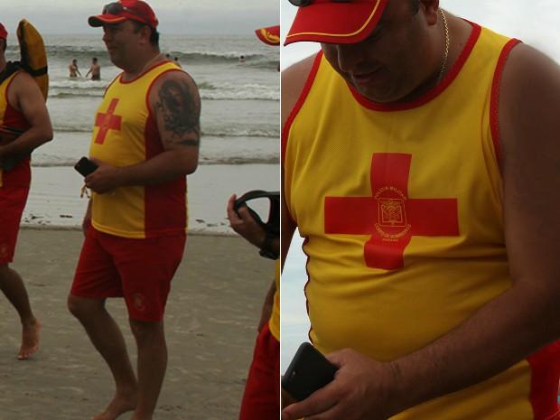 Fernando Francischini acompanha o trabalho de guarda-vidas com e sem tatuagem (Foto: Daniel Meneghetti/Polícia Militar do Paraná/Divulgação)