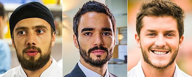 [BELEZA Barbas] Rafael Cardoso, Caio Blat e Klebber Toledo (Foto: TV Globo/Divulgação)