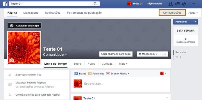 Acesse as configurações da sua página no Facebook (Foto: Reprodução/Barbara Mannara)