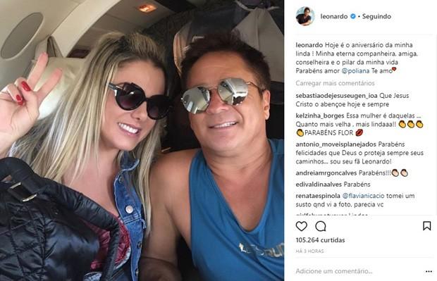 Leonardo e a mulher, Poliana Rocha (Foto: Reprodução/Instagram)