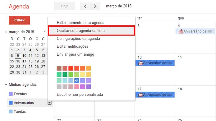 Ocultar agendas temporariamente é útil quando o calendário possui muitas entradas (foto: Reprodução/Google)