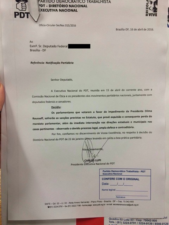 Carta do PDT sobre impeachment (Foto: Reprodução)