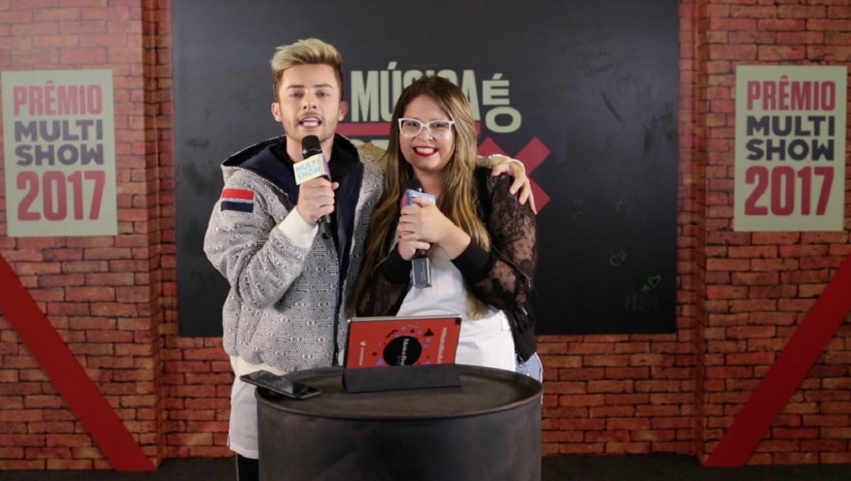 Maicon Santini e Marlia Mendona brincam de descobrir musicas atravs de emojis (Foto: Divulgao/Multishow)
