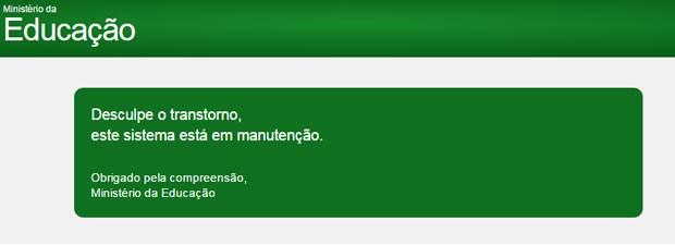 Portal do Sisu está em manutenção, de acordo com aviso que aparece na página.  (Foto: Reprodução)