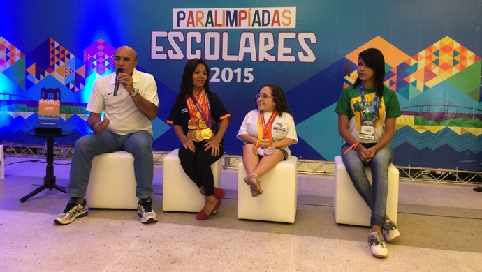 Coletiva CPB em Natal, RN - Ivaldo Brandão, Joana Neves, Estefhany Rodrigues e Geovana Moura (Foto: Augusto Gomes/GloboEsporte.com)