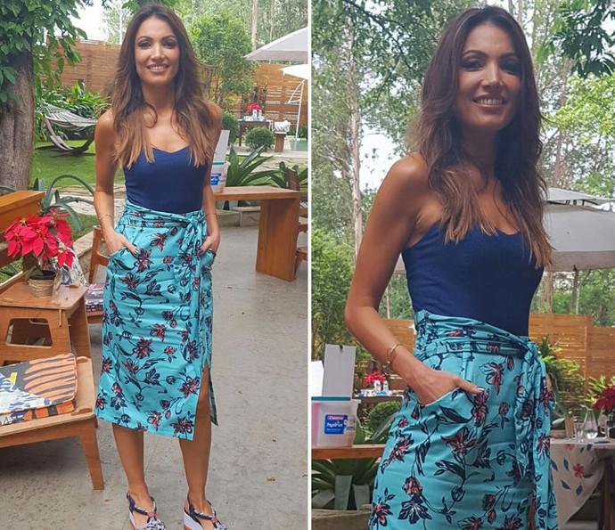 Patrícia Poeta investe em look que vai ser tendência no verão (Foto: Shaulla Rodrigues/Gshow)