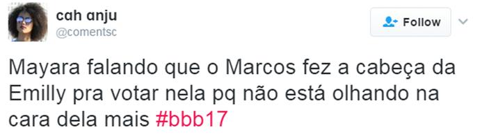 Tweet Mayara (Foto: TV Globo)