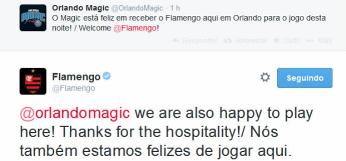 Magic e Flamengo conversam no Twitter