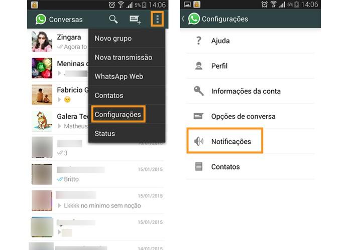 00037b64bf7 Acesse as configurações do WhatsApp e selecione Notificações (Foto   Reprodução Barbara Mannara)