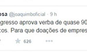 No Twitter, Joaquim Barbosa critica reajuste do Fundo Partidário