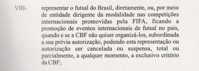 estatuto da CBF que fala sobre o futsal (Foto: Reprodução)