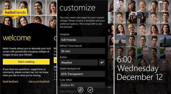 Hello Friends põe seus amigos da lista de contatos na tela de bloqueio do seu Windows Phone (Foto: Divulgação/Windows Phone Store)
