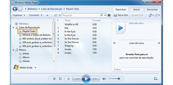 Escolha sua lista de reprodução no Windows Media Player (Foto: Reprodução/Barbara Mannara)