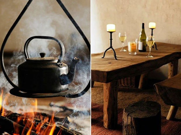Os móveis foram feitos à mão com a madeira de um carvalho da fazenda (Foto: Upcott Roundhouse/Divulgação)