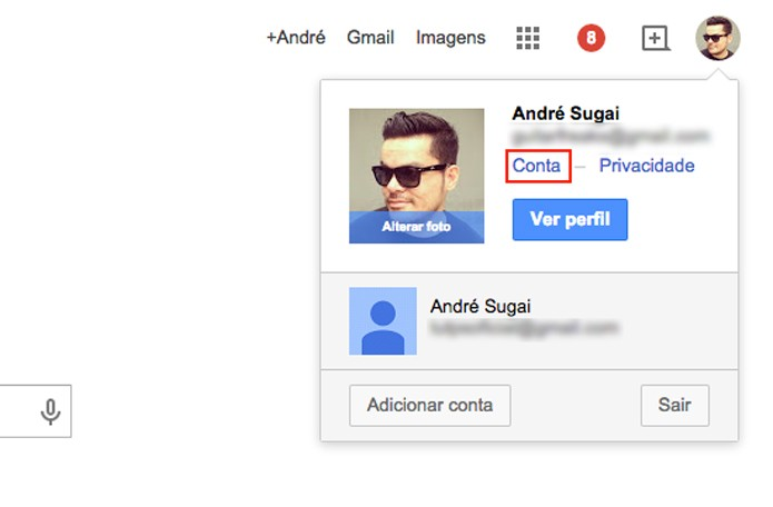 Acesse seu perfil do Google (Foto: Reprodução/André Sugai)
