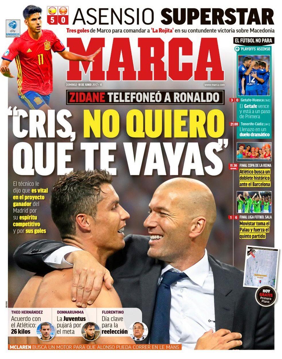 Zidane teria ligado para Cristiano Ronaldo (Foto: Reprodução/Marca)