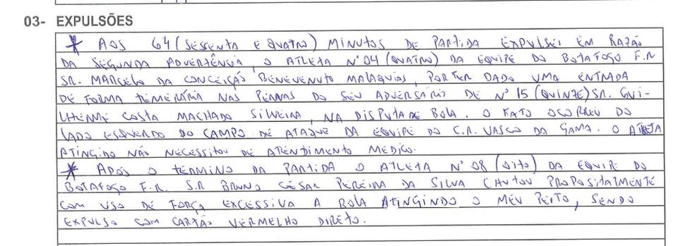 Relato do árbitro na súmula da partida Vasco x Botafogo de domingo (Foto: Reprodução)
