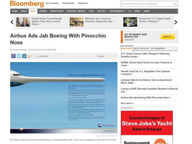 Anúncio da Airbus publicado na revista Aviation Week com traz avião com nariz de Pinóquio. (Foto: Reprodução/Bloomberg)