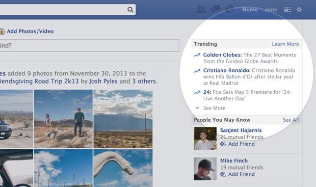 'Trending Topics' do Facebook ficarão na área superior direita da página da rede social (Foto: Divulgação/Facebook)