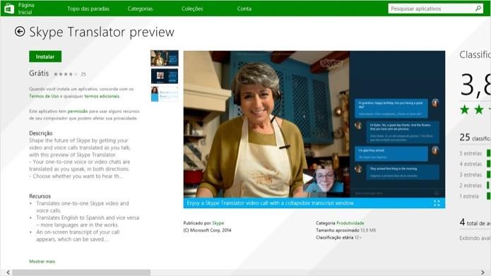 Instalando o Skype Translator no Windows 8.1 (Foto: Reprodução/Helito Bijora)