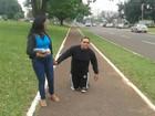 Jovem caminha 3 km de joelhos em principal avenida de Campo Grande