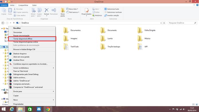 Usuário pode tornar todos os arquivos do OneDrive offline ou só aqueles que desejar (Foto: Reprodução/Elson de Souza)