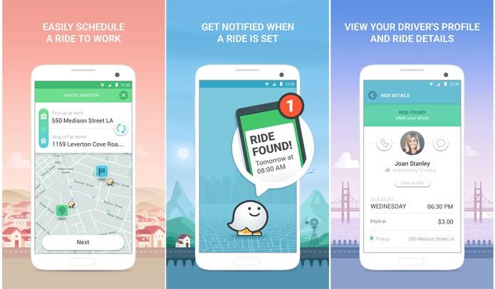 O RideWith usa as rotas do Waze para encontrar quem precisa de carona (Reprodução/Google Play Store)
