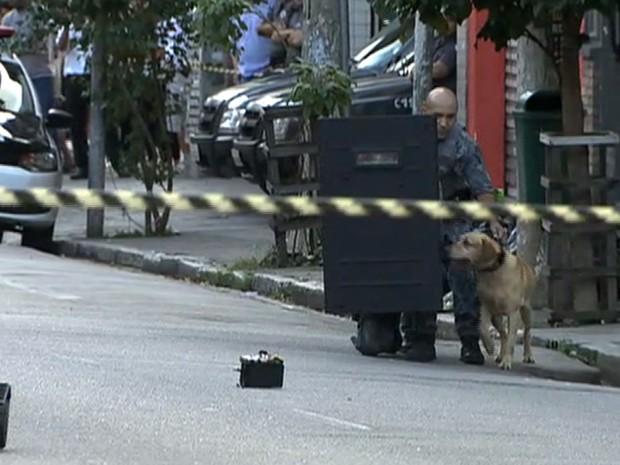 Cão policial foi levado para farejar o objeto suspeito (Foto: TV Globo/Reprodução)