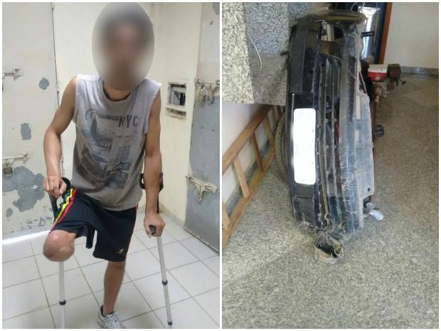 Homem suspeito de envolvimento com o crime não tem uma perna; para-choque do carro caiu na colisão (Foto: Divulgação/ PM)