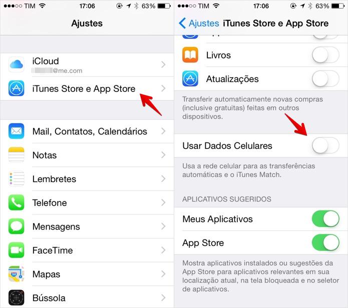 Acesse as configurações da App Store para desativar a atualização de apps  no 3G (Foto