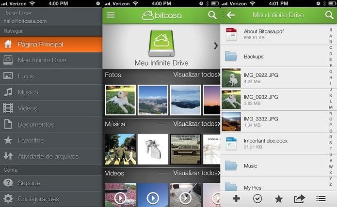 Bitcasa lhe dá um disco externo e economiza o espaço do seu gadget (Foto: Divulgação/App Store)