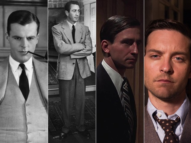 Da esq. para dir., os atores que foram Nick Carraway no cinema: Neil Hamilton, em 1926; Macdonald Carey, em 1949; Sam Waterston, em 1974; e Tobey Maguire em 2013 (Foto: Divulgação)