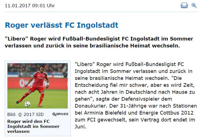 Em entrevista a jornal da Alemanha, Roger confirmou que vai defender o Atlético-MG (Foto: Reprodução Internet)