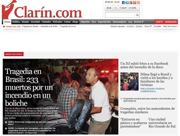Jornal argentino destacou centenas de mortos em incêndio (Foto: Reprodução)