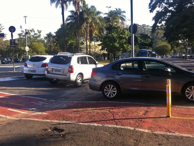 Trecho da ciclovia da Rua Manoel da Nóbrega, próxima ao Parque Ibirapuera, onde carro foi removido pelo ciclista (Foto: Ana Leonardi/G1)