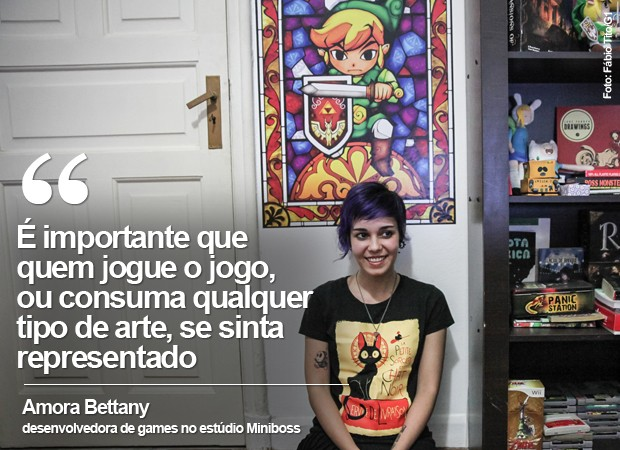 É importante que  quem jogue o jogo, ou consuma qualquer tipo de arte, se sinta representado, diz Amora Bettany, desenvolvedora na Miniboss (Foto: Fábio Tito/G1)