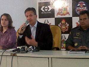 Secretário de Segurança Pública, Aluísio Mendes, e representantes da Segurança do Estado. (Foto: Alex Barbosa/TV Mirante)