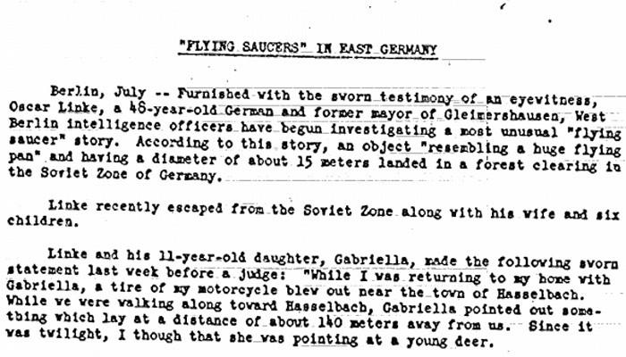 Relatório sobre a aparição de discos voadores na Alemanha, em 1952 (Foto: Reprodução/CIA)