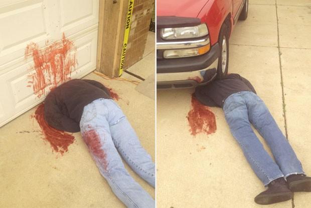 Família de Oklahoma chocou os vizinhos ao colocar decorações de Halloween assustadoramente realistas (Foto: Reprodução/Facebook/Johnnie Mullins)