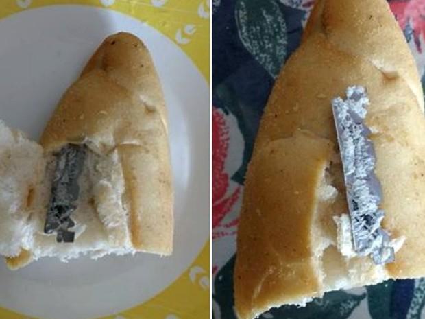 Lâmina estava dentro do pão e foi encontrado pela dona de casa  (Foto: Eliane Santos/Arquivo pessoal )