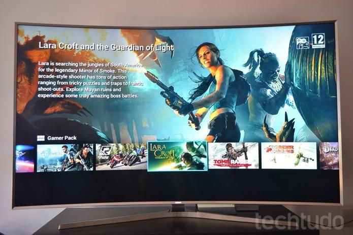 GameFly, no Tizen, permite jogar na Smart TV sem um console de videogame (Foto: Melissa Cruz/TechTudo)