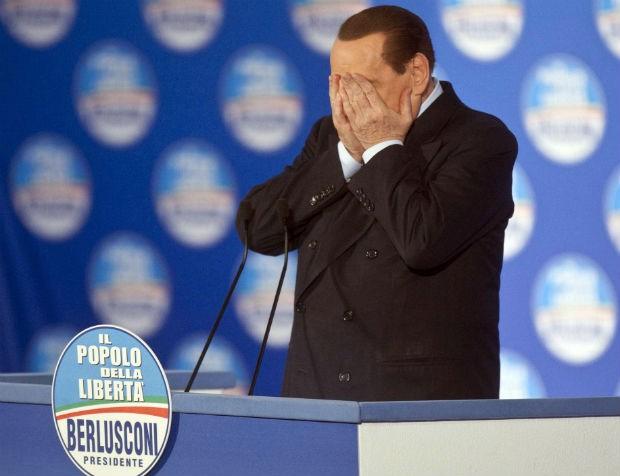 O ex-primeiro-ministro da Itália, Silvio Berlusconi, durante campanha eleitoral em fevereiro (Foto: Mauro Scrobogna, LaPresse/AP)