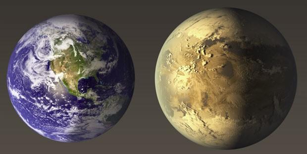 Ilustração da Nasa mostra comparação entre a Terra e o Kepler-186f (Foto: Nasa)